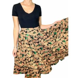 Vintage Full Circle Skirt Cottagecore Butterfly S